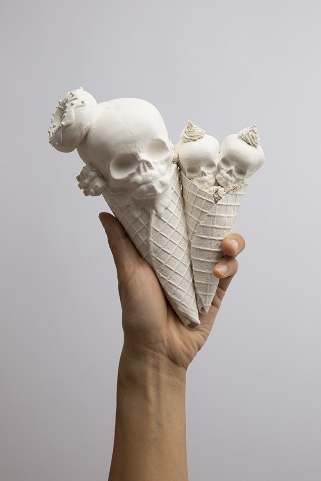 "Sculpture by Jacqueline Tse. ""Double Cone"", Porcelain, 6"" x 6"" x 4"""