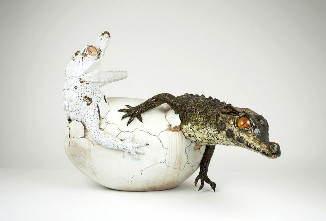 "Sculpture by Sarah Lee. Yin and Yang"" Clay, resin, fiberglass, plastic, quail eggshells, 28"" x 29"" x 36"""