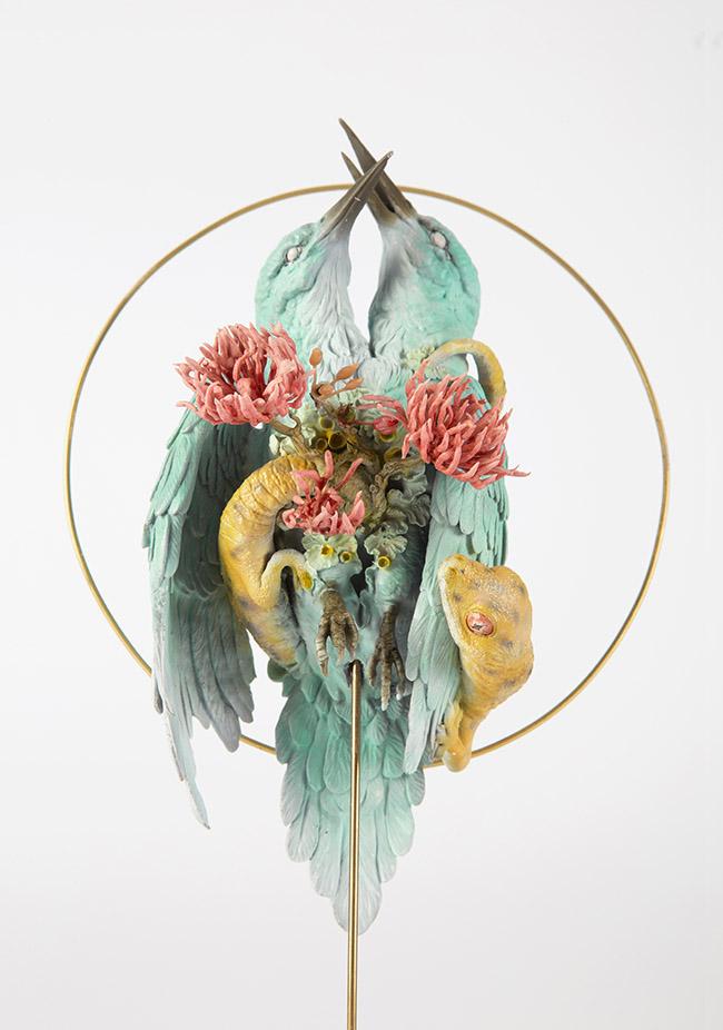 "Sculpture by Yuuki Morita. ""Reincarnation"", Resin, Artificial flowers, metal, enamel, acrylic, 17cm x 15cm x 9cm"