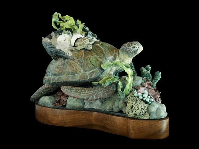 "Sculpture by Nikole Cooney. ""In the Flow"", Epoxy clay, quartz, 12"" x 11"" x 18"""