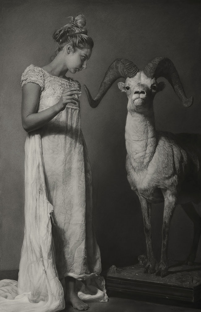 "Charcoal Drawing by Annie Murphy-Robinson. ""Emily and the Ram (conjuring)"" [Sanded Charcoal on Paper, 65"" x 42""]"
