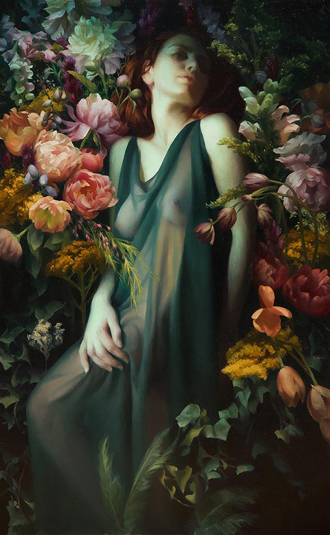 "Oil Painting by Adrienne Stein. ""Persephone"" [Oil on Canvas, 48"" x 30""]"
