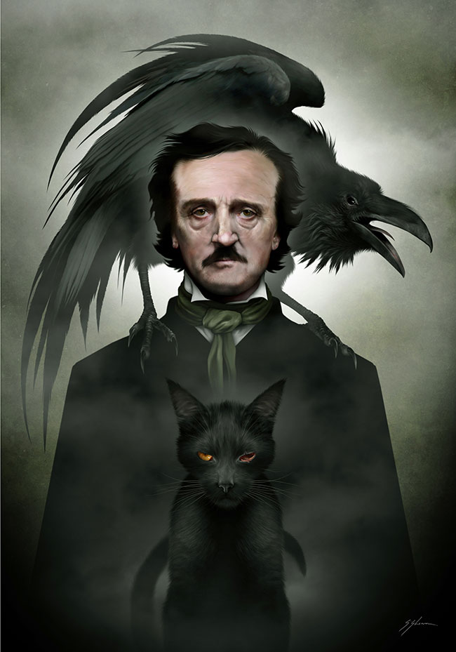 """Digital painting by Mister Sam Shearon. """"Edgar Allen Poe"""" [Digital Painting, Traditional pencil and ink, scanned into Dell laptop, repainted with Photoshop]"""
