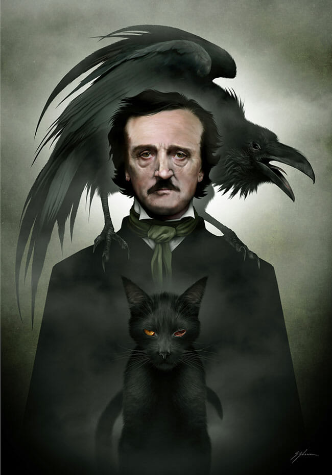 "Digital painting by Mister Sam Shearon. ""Edgar Allen Poe"" [Digital Painting, Traditional pencil and ink, scanned into Dell laptop, repainted with Photoshop]"