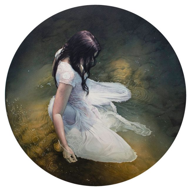 "Watercolour painting by Reuben Negron. ""Ophelia"" [Watercolor on paper mounted on aluminum panel, 24"" x 24""]"