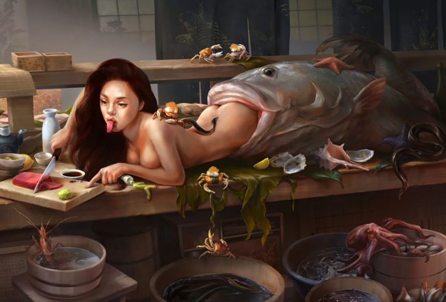 """Digital Painting by Leslie Lee. """"Mermaid Sushi"""" [Digital Painting, Adobe Photoshop]"""