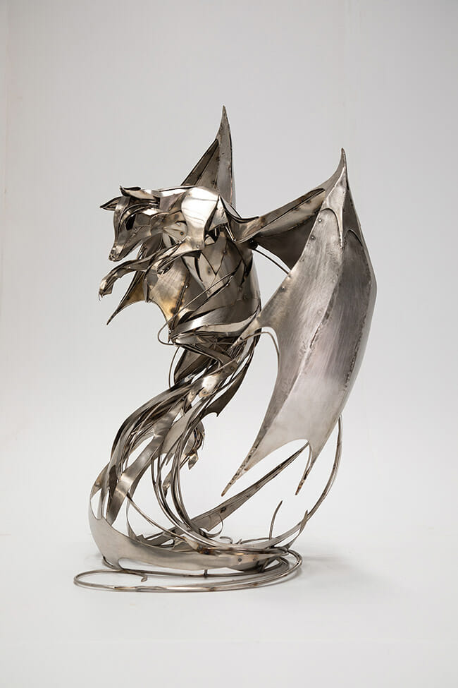 "Stainless Steel sculpture by Georgie Seccull. ""Transcendence"", Stainless Steel, 95cm x 68cm x 60cm"