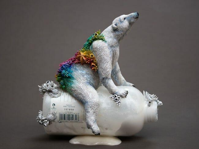 "Sculpture by Stephanie Kilgast. ""Hope"", Plastic bottle, epoxy clay, acrylics, 19cm x 18cm"