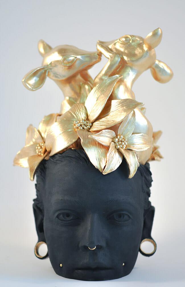 "Sculpture by Nel14512. ""Faon-tasme"", Polymer clay, 30cm x 22cm"
