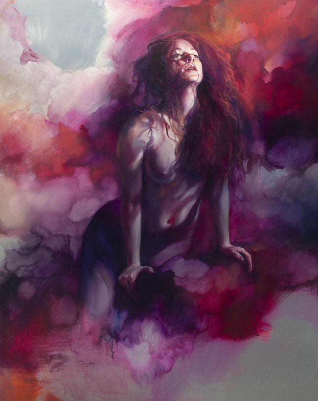 "Oil painting by Liz Gridley. ""After Anguish, Release"" [Oil on Aluminium, 123 cm x 93cm]"