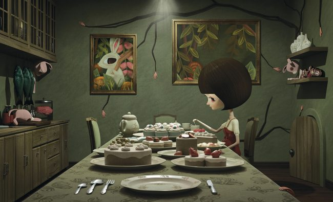 "Digital 3 Dimensional artwork by Xiaoyue Liu. ""Where Did All the Squirrels Go - room 1"" [Digital 3 Dimensional, Maya, Nuke, Photoshop, Octane Render, After Effects]"