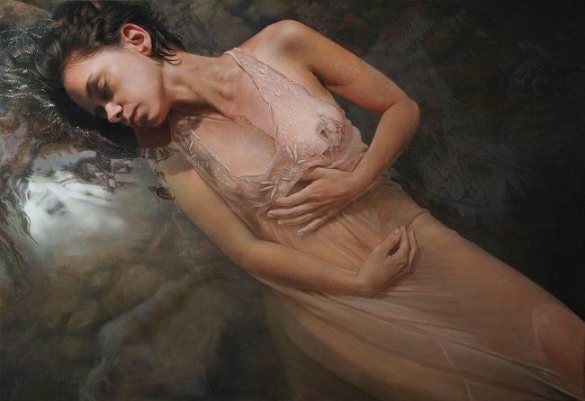 """Oil painting by Anne-Christine Roda. """"Gaelle"""" [Oil on Linen, 90cm x 130cm]"""