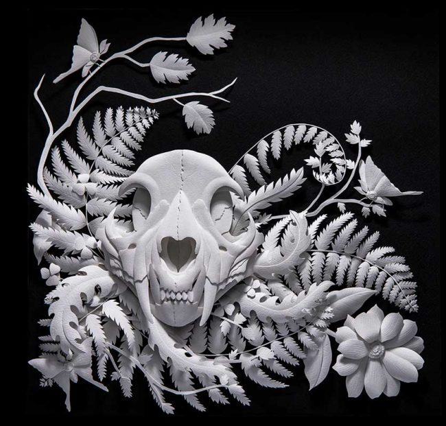 "Paper Sculpture by Marisa Argón Ware. ""Moonshadow"", Paper sculpture, 18"" x 24"" x 4"""