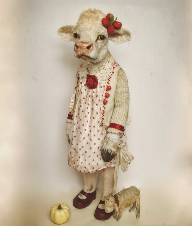 "Sculpture by Annie Montgomerie. ""Bonny Bove on her 8th Birthday"", Textiles/Mixed Media, 23"" x 6"""