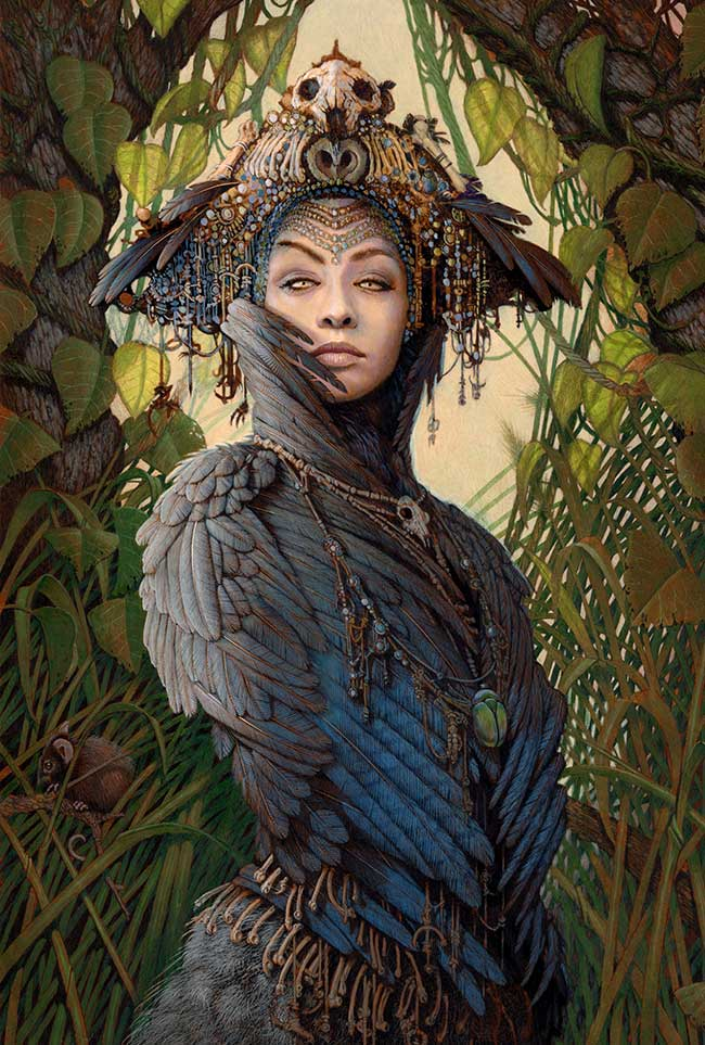"Pencil drawing by Ed Binkley. ""Corvid Priestess"" [Coloured Pencil, 20"" x 13""]"