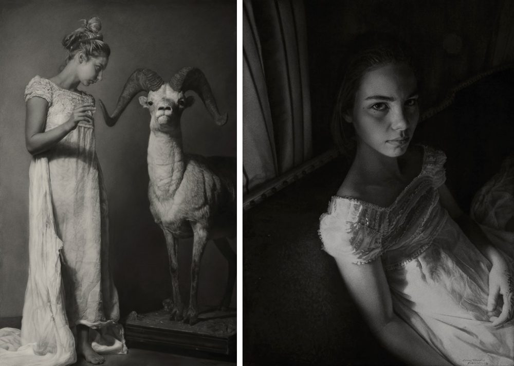 "Annie Murphy-Robinson's winning entry, ""Emily and the Ram (conjuring)"" Sanded charcoal on paper, 65 x 42″"